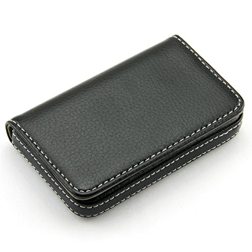 Partstock Flip Style Leather Business Name Card Wallet / Holder 25 Cards Case 4L x 2.8W inches with Magnetic Shut.