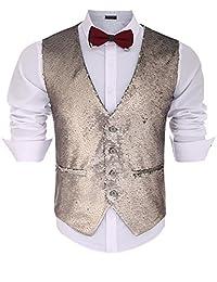 COOFANDY Men's Slim Fit Sequins Vest V-Neck Shiny Party Dress Suit Stylish Vest Waistcoat