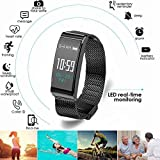 Fitness Activity Tracker Watch IP68 Waterproof Sports Stylish Bracelet with Fashion Metal Mesh Strap for All Day Activity and Auto Sleep Tracking Pedometer with APP Support for iOS/Android (Black)