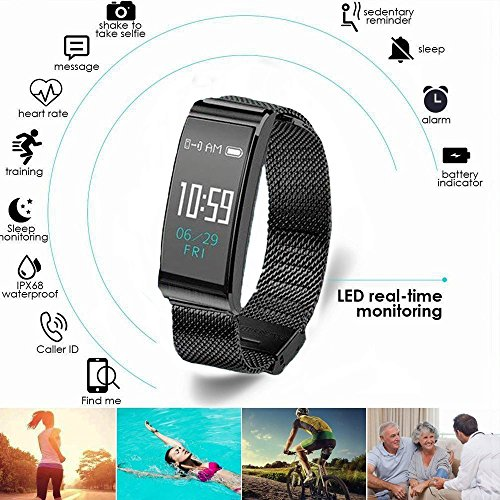 Fitness Activity Tracker Watch IP68 Waterproof Sports Stylish Bracelet with Fashion Metal Mesh Strap for All Day Activity and Auto Sleep Tracking Pedometer with APP Support for iOS/Android (Black) (Care Assistant Personal Am)
