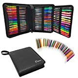 LIMITED TIME 96 Gel Pens for Adult Coloring Books Drawing 48 Premium Artist Ink Colorful gels pens 24 Glitter, 12 Metallic, and 12 Neon Bonus 48 Refills PU Leather Portable Travel Case