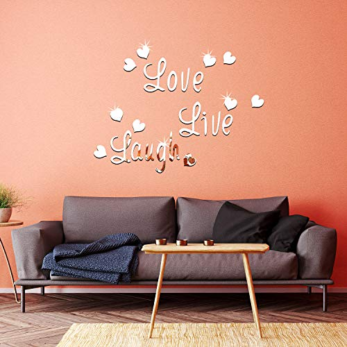 DIY Silver Love Live Laugh Heart Mirror Combination 3D Mirror Wall Stickers Home Decoration (Silver Love Live Laugh… 4