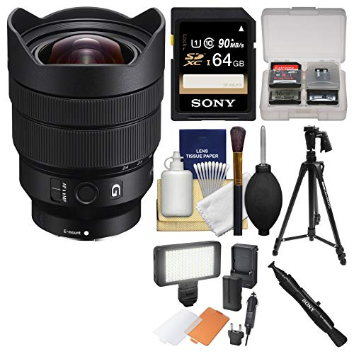 Sony Alpha E-Mount FE 12-24mm f/4.0 G Ultra Wide-Angle Zoom Lens with 64GB Card + LED Light/Flash & Diffuser + Tripod + Kit