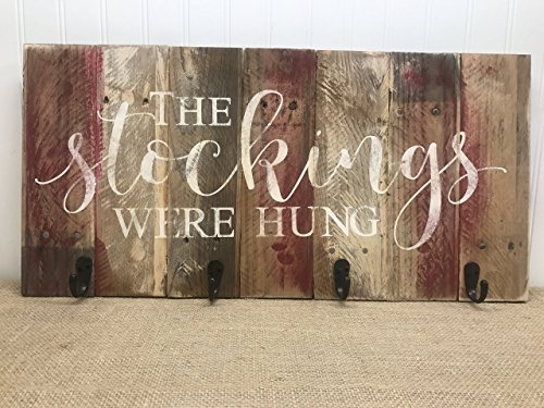 The Stockings Were Hung Stocking Hanger Reclaimed Wood Wall Art ()
