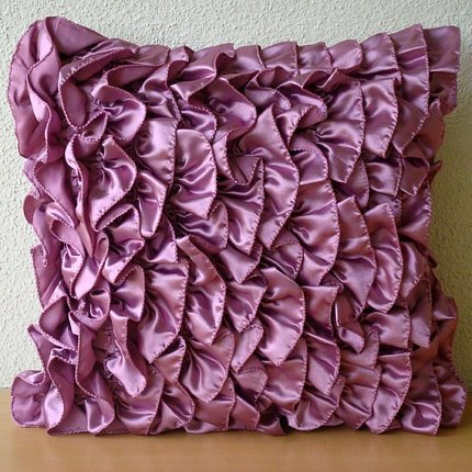 Mat Vine Design Chair (Purple Accent Pillows, Vintage Style Ruffles Shabby Chic Pillows Cover, 16