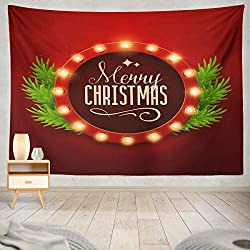 Soopat Tapestry Polyester Fabric Christmas Retro Light Sign Neon Merry Wall Hanging Tapestry Decorations Bedroom Living Room Dorm 80X60 inch