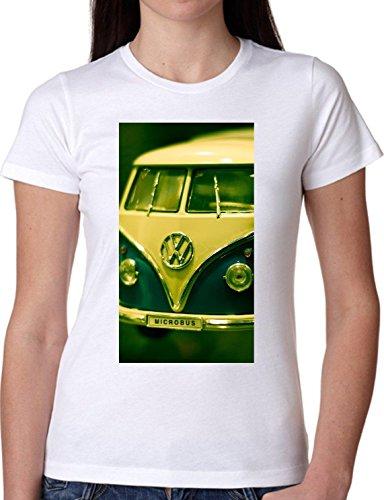 T SHIRT JODE GIRL GGG22 Z1088 CAR TRUCK HIPPIE 70S VINTAGE MUSIC FREE FASHION COOL BIANCA - WHITE S