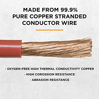Power Bright 2 AWG 3 Foot High Amperage Copper Set of Battery Cables, Professional Series Thick Gauge Cable for Power Inverters, Auto, RV, Boat, Marine and Solar Applications: Automotive