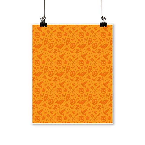 Canvas Print Wall Art Monochrome Design with Traditional Halloween Themed Various Objects Celebration Day Orange Canvas Texture Decoration,28
