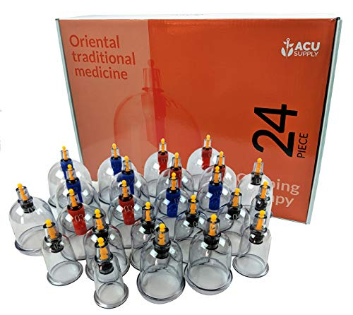 24 Piece Vacuum Cupping Therapy Set - Vacuum Cupping Set for Home Use - Cellulite Cups with Self Hand Pump- for Natural Pain and Stress -
