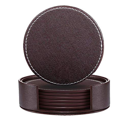 Drink coasters, Set of 6 Round Leather Coasters with Holder Protect Your Furniture (brown, - Coaster Drink Leather