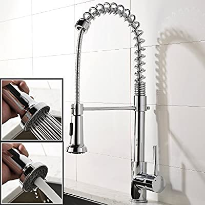 UFaucet Best Chrome High Arc Single Handle Single Lever Prep Pre-rinse Pull Down Kitchen Sink Faucet