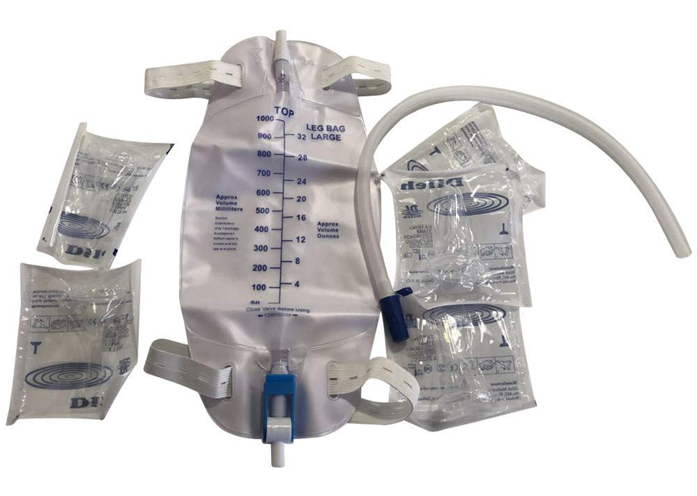 Male Urine Leg Bag Collector,5-Condom Catheters Self-Seal 28mm (Intermediate), Premium Leg Bag 1000ml Tubing, Straps & Fast and Easy Draining