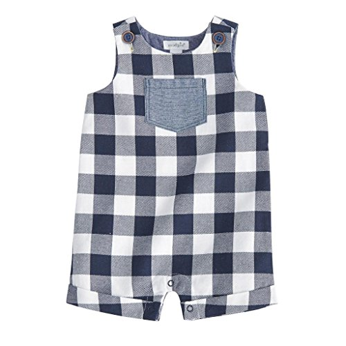 Gingham Boys Shortall (Mud Pie Baby Boys Gingham Sleeveless Shortall Playwear, Blue, 12-18 Months)