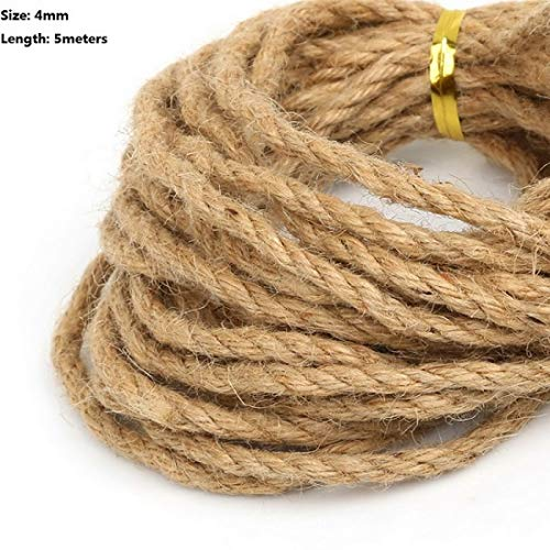 Twine String Jute Natural/Burlap Rope Hemp Ribbon for DIY Craft Packing Wrap/Rustic/Gift/Wedding/Christmas Party/Decoration Accessories (4 mm - 5 Meter) ()