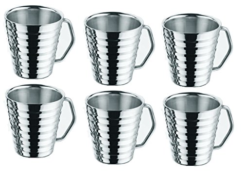 STREET CRAFT Stainless Steel Beer Mugs With Beautifull Desgin Coffee Mugs Cappuccino Cups Tea Cup Double Wall Food Grade Durable Safe Set of - 6 capacity - 14 OZ