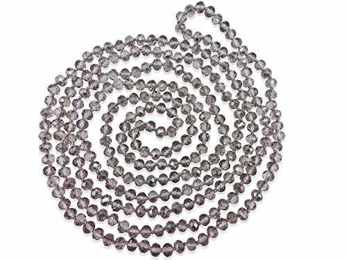 - MGR MY GEMS ROCK! BjB 80-inch Long Endless Infinity Beaded Statement Crystal Necklace. (Gray)