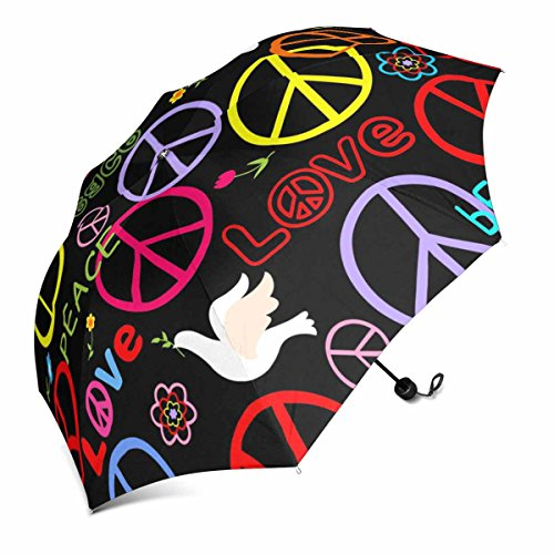 InterestPrint Hippie Wallpaper with Peace Symbol and Doves Foldable Portable Outdoor Travel Compact Umbrella (43 Inch)