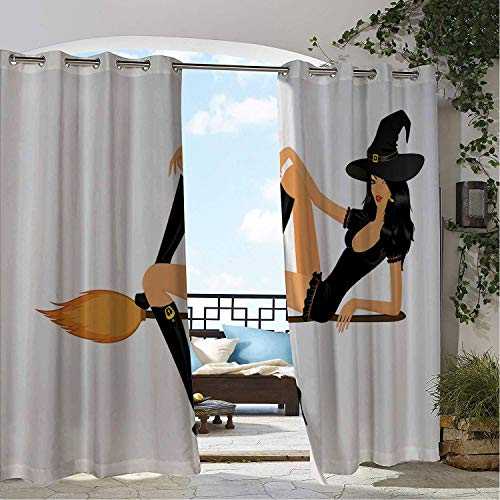 Linhomedecor Patio Waterproof Curtain Witch Attractive Woman Posing