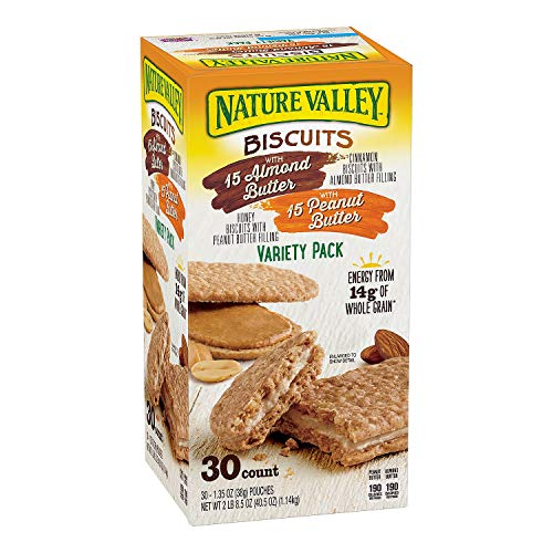 (Nature Valley Sandwich Biscuit with Almond Butter or Peanut Butter, Variety Pack, 30 Count (Pack of 2, Total of 60 Ct))