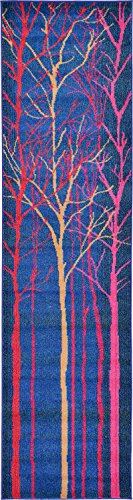 Unique Loom 3119813 Estrella Collection Colorful Abstract Blue Runner Rug 3