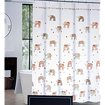 Cynthia Rowley Fabric Shower Curtain Brown Taupe Beige Salmon Pink  Elephants On White    Decorated
