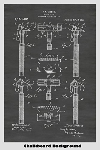 Vintage Gillette Safety Razor Patent Print Art Poster: Choose From Multiple Size and Background Color Options