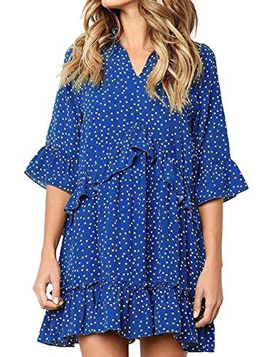 LOMON Womens Light Blue t Shirt Dress t-Shirt Dress Coverup Sundresses Boho Rayon Blue S (Classic Mini Denim)