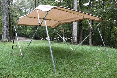 Tan/Beige Vortex 4 Bow Bimini Top 6' Long, 85-90' Wide, 54' High, Complete Kit, Frame, Canopy, and Hardware (FAST SHIPPING - 1 TO 4 BUSINESS DAY DELIVERY)