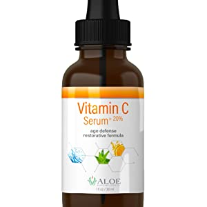 Vitamin C Serum for Face with Hyaluronic Acid, Vit E, Aloe Vera and Active Botanicals | Natural Anti-Aging Skin and Age Spot Repair Facial Serum (1oz)