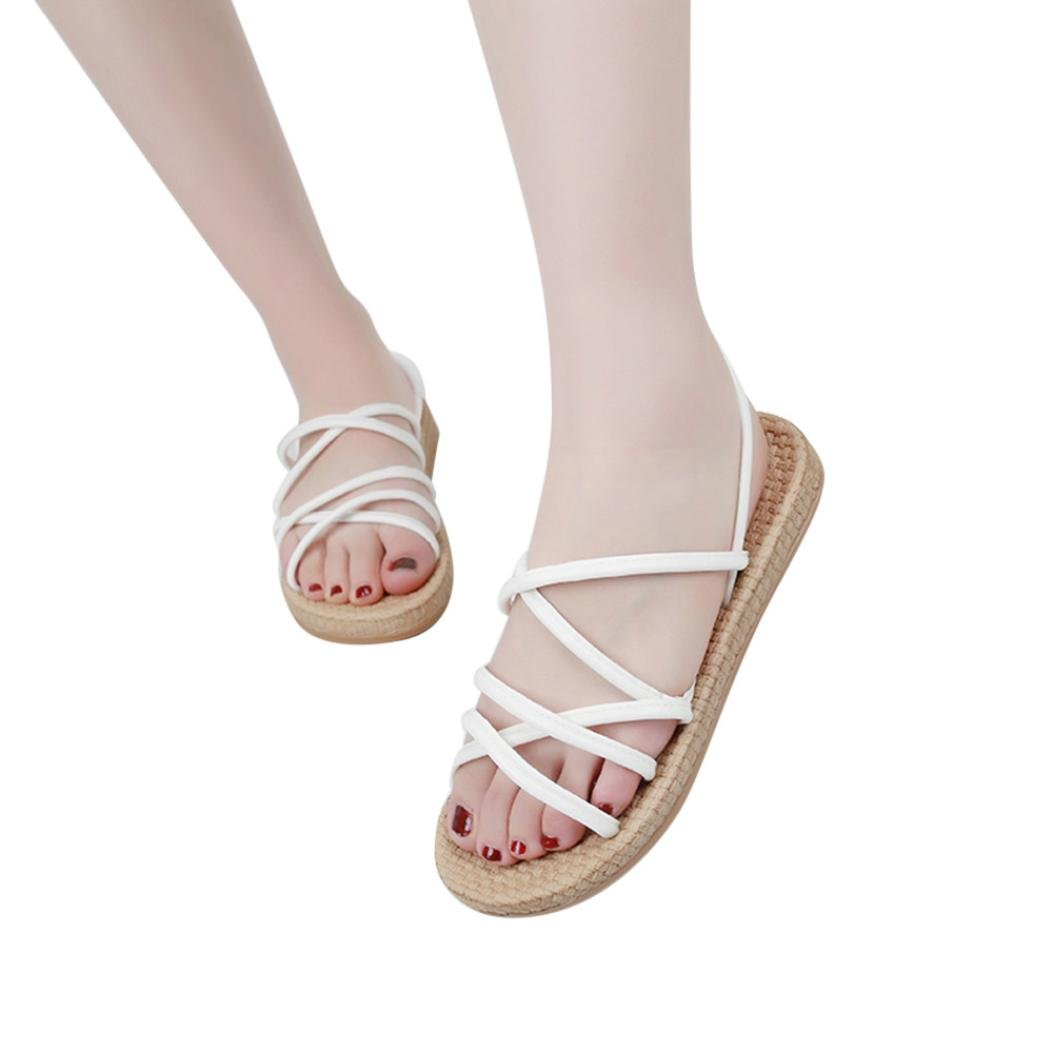 Hemlock Women Sandals Slippers Strappy Bohemia Flats Wedge Sandals Lady Peep Toe Shoes (US:7, White)