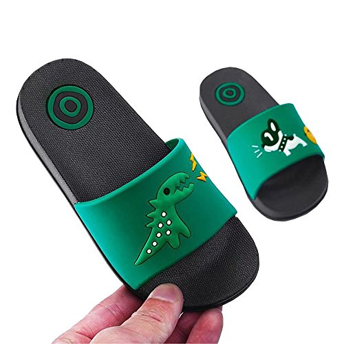 DKKK Comfortable Non-Slip Shoes for Women, Newest Quick Drying Soft Slippers Non-Slip Basic Insole House Casual Anti-Slip Indoor&Outdoor Floor Sandal Bath Slipper Green Dinosaur and Dog Size 7-8 by DKKK