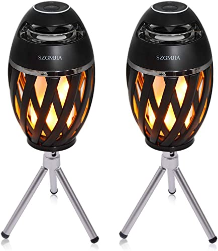 2-Pack Led Flame Speakers, SZGMJIA Flame Torch Atmosphere Speaker Bluetooth 4.2 Wireless Portable Outdoor HD Audio Waterproof Speaker with LED Flickers Warm Night Lights for iPhone iPad Android