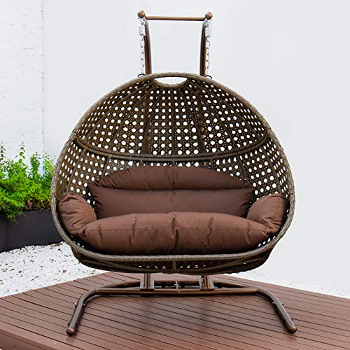 LeisureMod Outdoor Patio Beige Wicker Hanging 2 Person Double Egg Swing Chair (Brown)