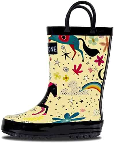 LONECONE Rain Boots Easy-On Handles in Fun Patterns Toddlers Kids, Moroccan Horses - Cream, Toddler 9