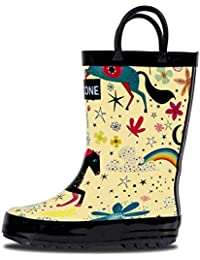 Rain Boots with Easy-On Handles in Fun Patterns for Toddlers and Kids