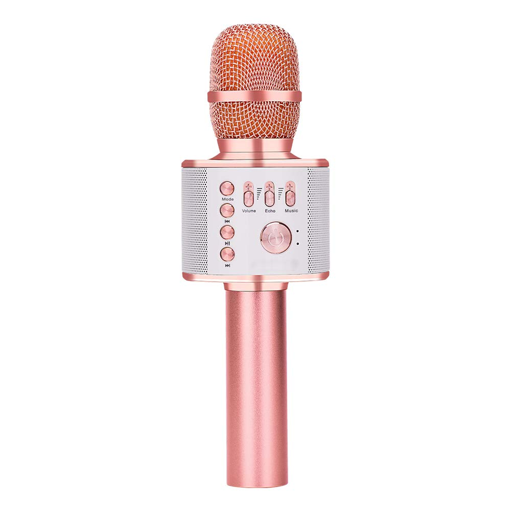 Wireless Bluetooth Karaoke Microphone, Portable Handheld Karaoke Machine Home Party Birthday Mic Speaker for iPhone/Android/iPad/PC/All Smartphones(rose gold plus) Verkstar GMBT006ALG