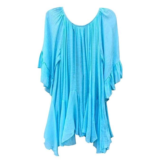 Bestow Moda para Mujer Camisa con Volantes Bohemia Camisa de Manga Corta Top Tops Irregulares Blusa