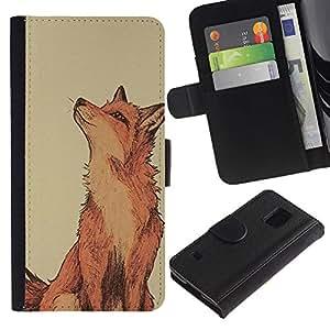 Be Good Phone Accessory // Caso del tirón Billetera de Cuero Titular de la tarjeta Carcasa Funda de Protección para Samsung Galaxy S5 V SM-G900 // red fox clever vignette yellow cute