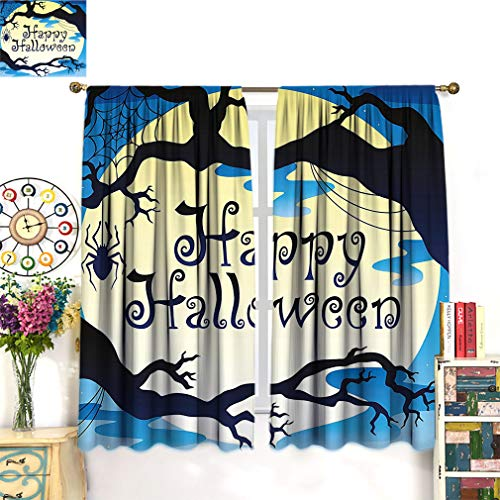 Alexdemo Halloween Decor Blackout Curtain, Happy Halloween Quote Spooky Night Moon and Branches Shadows Haunted Lights Window Drapery 2 Panels Set, Each Panel 36