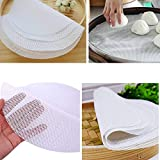 5Pcs 11-Inch Non-Stick White Silicone Steamer - Silicone Steamer Mesh- Reusable Kitchen Steamer Mat Liners - Dim Sum Paper Restaurant Kitchen -Steamer Paper Liners for Steaming Basket