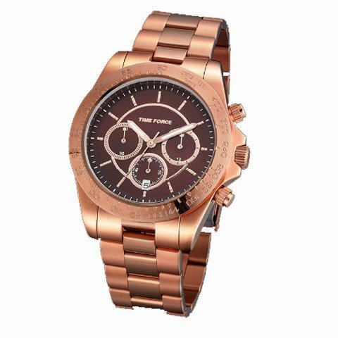 Time Force - Reloj de pulsera mujer, acero inoxidable, color marrón
