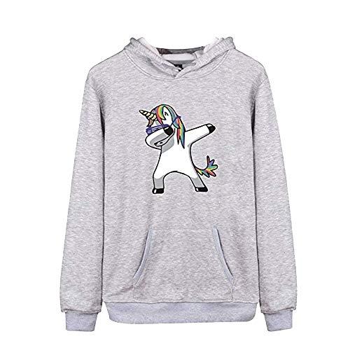 Sweatshirt Maniche Cappuccio Donne Pullover Unicorno Tops Felpe Inverno Autunno Stampa Felpa Grigio Lunghe Desshok Sportive Tumblr Casuale zOpHxHX