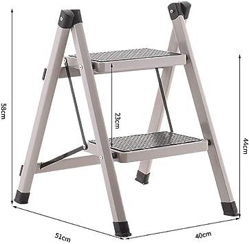 AOLI Escalera de 2 peldaños, escalera de mano plegable de acero resistente Mini escalera portátil compacta con tapete antideslizante para cocina doméstica-marrón 51X40X58Cm (20X16X23 pulgadas),gris: Amazon.es: Bricolaje y herramientas