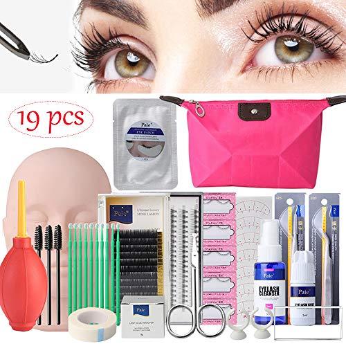 19PCS False Eyelashes Extension Practice Exercise Set, EBANKU Mannequin Training MakeUp False Eyelashes Extension Glue Tool Practice Kit With Bag For Makeup Practice Eye Lashes Graft