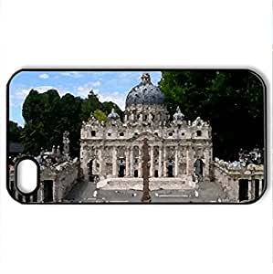 Miniature Park - Case Cover for iPhone 4 and 4s (Modern Series, Watercolor style, Black)