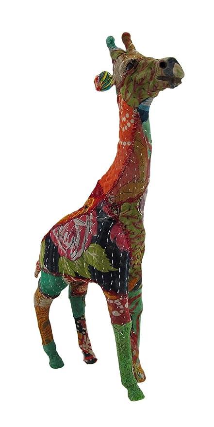 Vintage Sari Tela Envuelto papel maché jirafa escultura 17 en ...