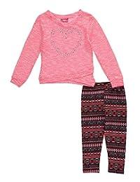 """Girls Pink Little Girls' Toddler """"Geo Heart"""" 2-Piece Outfit"""
