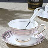 NDHT Bone China Teacups/Coffee Cups & Saucers Sets with Spoons-6.7Oz, for Home, Restaurants, Display & Holiday Gift,Pink