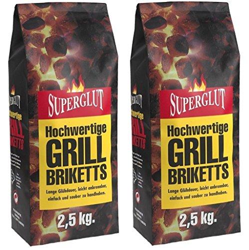 5kg Superglut Premium Grillbriketts Holzkohle Grillkohle